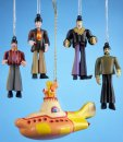 BEATLES + YELLOW SUBMARINE SET OF 4 ORNAMENTS