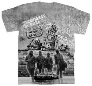 BEATLES LIVERPOOL STATUE & MONTAGE SUBLIMATION T