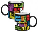 BEATLES SONG TITLES 20 OZ HEAT REACTIVE CERAMIC MUG