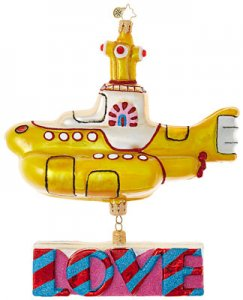 YELLOW SUBMARINE WITH LOVE GLASS ORNAMENT