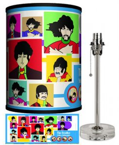 BEATLES YELLOW SUB COLLAGE LAMP-CRYSTAL BASE
