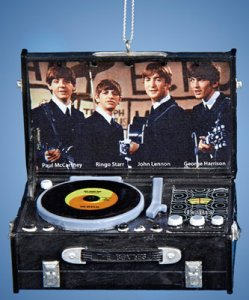BEATLES RETRO BLACK RECORD PLAYER ORNAMENT