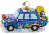 THE BEATLES YELLOW SUBMARINE TAXI GLASS ORNAMENT