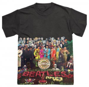 BEATLES SGT. PEPPER BLACK SUBLIMATION T - Med. Last One Last Two