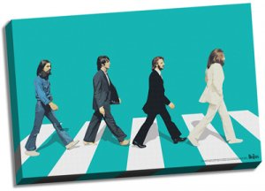 "GREEN SILHOUETTE ABBEY ROAD 24"" x 36"" CANVAS"