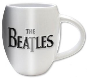 BEATLES WHITE OVAL LOGO MUG