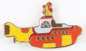 YELLOW SUBMARINE METAL/CERAMIC PIN BADGE