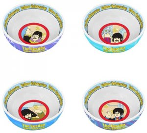 "YELLOW SUBMARINE 4 PIECE 6"" CERAMIC BOWLS SET"