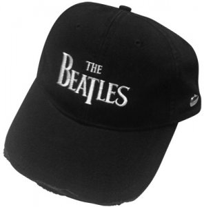 BEATLES LOGO BLACK DISTRESSED HAT