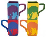 BEATLES FACES SET OF 4 SQUARE MUG SET
