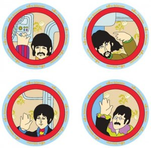 "YELLOW SUBMARINE 4 PIECE 8"" CERAMIC SALAD PLATES"