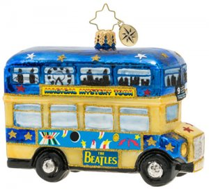 MAGICAL MYSTERY TOUR BUS GLASS ORNAMENT