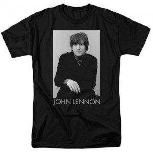 LENNON BLACK TEE WITH BEATLE JOHN IMAGE