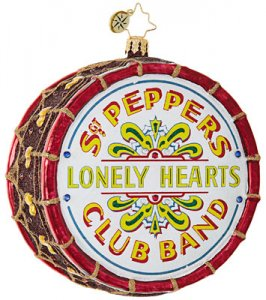 THE BEATLES SGT. PEPPER DRUM GLASS ORNAMENT - Last Two