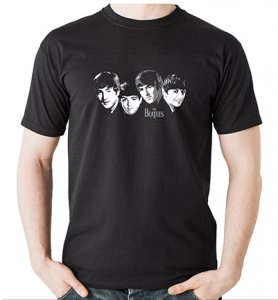 BEATLES EARLY IMAGES BLACK T-SHIRT