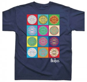 SGT. PEPPER DRUM LOGO MULTI IMAGE NAVY T - Last Two