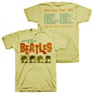 BEATLES AMERICAN TOUR 1964 CREAM COLOR T-SHIRT - XXL Only