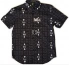 BEATLES DRUMS & APPLES BLACK S/S BUTTON-DOWN SHIRT