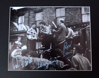 THE FIRST PHOTOGRAPH OF THE QUARRYMEN SIGNED BY 3 MEMBERS