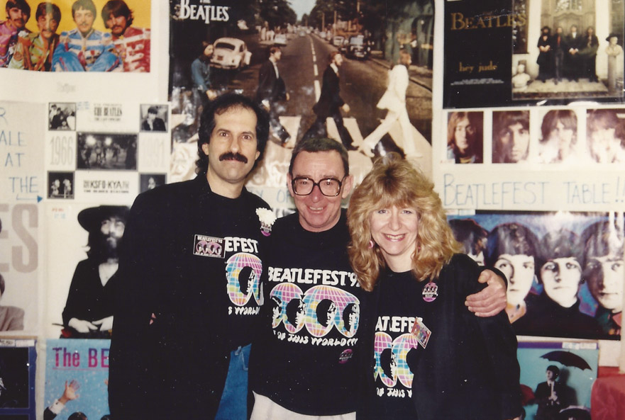 Alistair Taylor flanked by Mark and Carol Lapidos at the Giant International Beatles Marketplace – N.J. `92