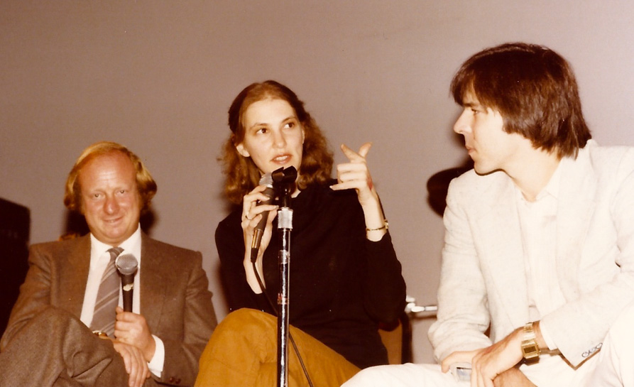 Clive Epstein (Brian's brother), Laura Gross, and Nick Schaffner talk things over – L.A. `79