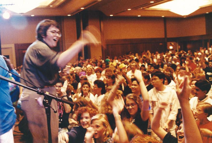 Master of Ceremonies Terri Hemmert gets the crowd going – Chicago `90