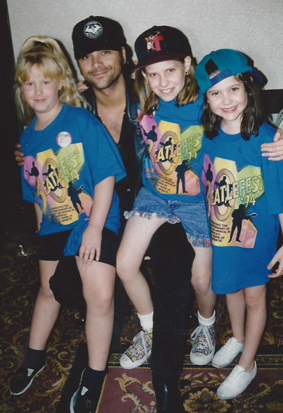Uncle Jesse (John Stamos) makes an appearance!  Flanked by Michelle and Jessica Lapidos - L.A. `94