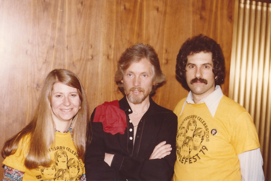 Klaus Voormann poses for a picture with Mark and Carol Lapidos - N.J. `79