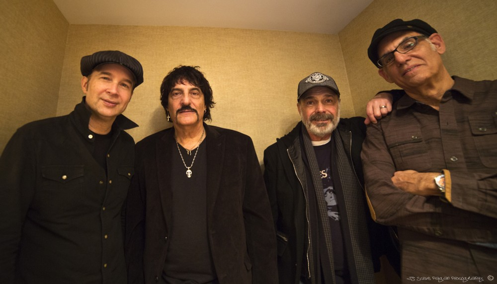 World class drummers Shawn Pelton (SNL sessions), Carmine Appice (Vanilla Fudge), Danny Seraphine (CTA/Chicago) and Liberty Devitto (Billy Joel) pose at the Modern Drummer Symposium.