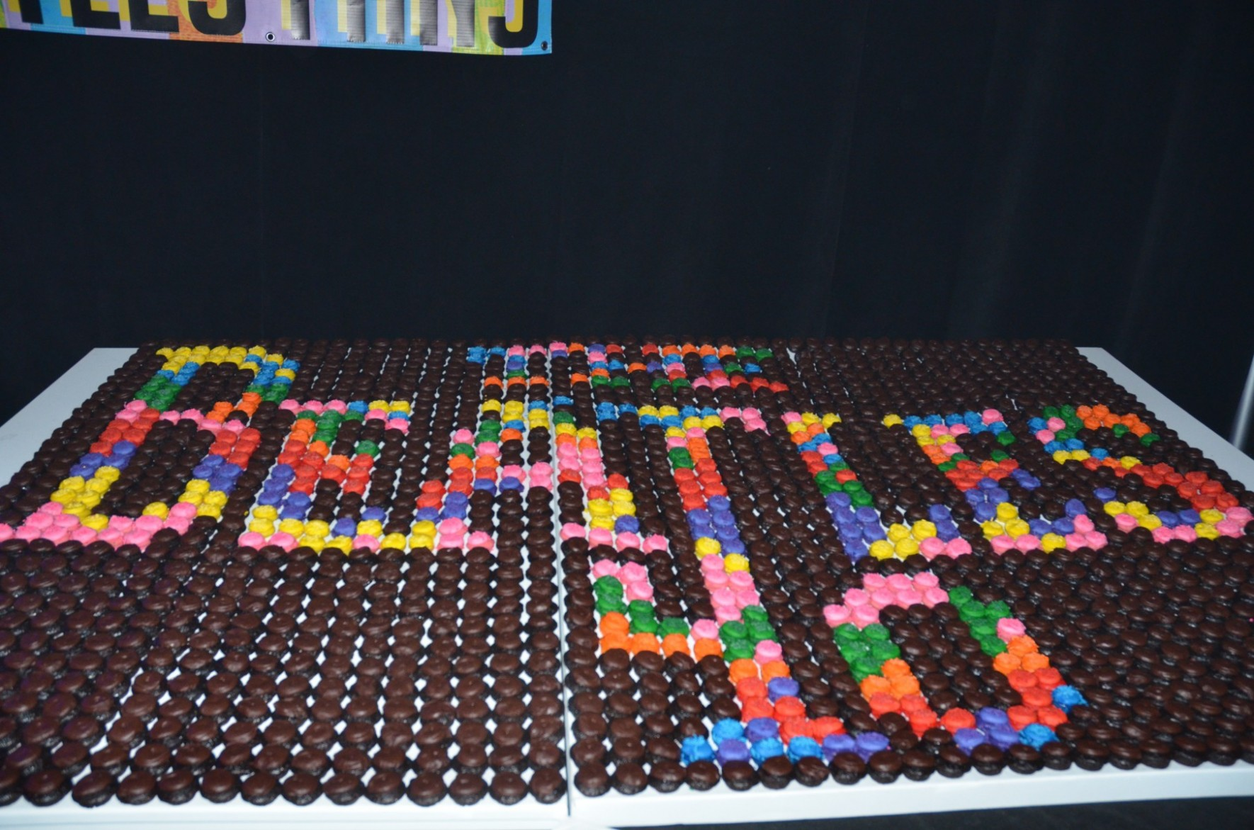 To recognize the 40th anniversary of the Fest, Baked By Melissa provided an amazing Beatles mosaic made up of over 2,000 cupcakes. Fest attendees took a piece, but not too much...